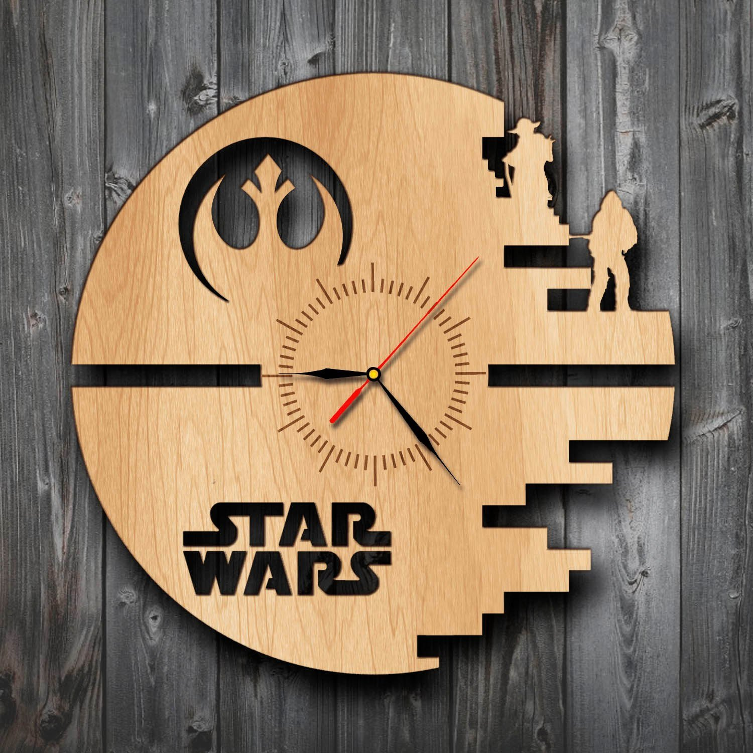 Wooden Death Star Wall Clock